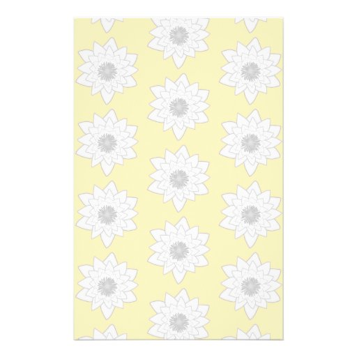 Water Lily Flower Pattern. White, Gray and Yellow. Personalized Flyer