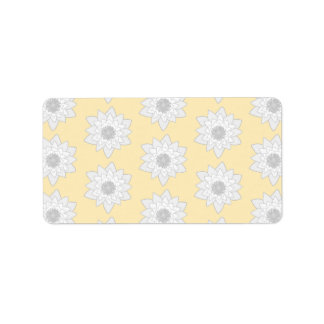 Water Lily Flower Pattern. White, Gray and Yellow. Label