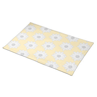 Water Lily Flower Pattern. White, Gray and Yellow. Placemat