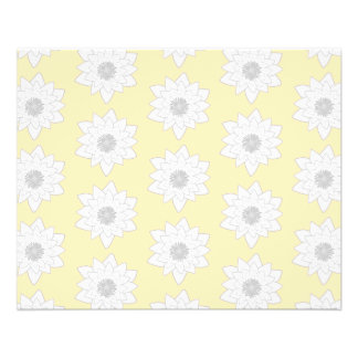 Water Lily Flower Pattern. White, Grey and Yellow. Flyer Design