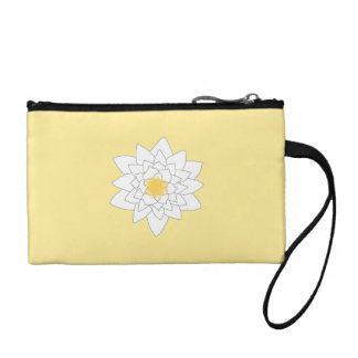 Water Lily Flower. White and Yellow. Style 2. Coin Purses