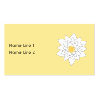 Water Lily Flower. White and Yellow. Style 2. Business Card Template