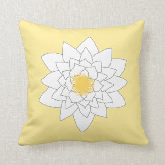 Water Lily Flower. White and Yellow. Style 2. Cushion