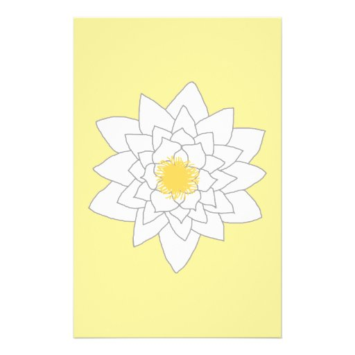 Water Lily Flower. White and Yellow. Style 2. Full Color Flyer