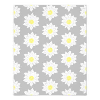 Water Lily Flowers. White, Yellow and Gray. Flyers
