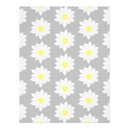 Water Lily Flowers. White, Yellow and Gray. Flyer