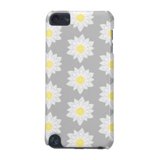 Water Lily Flowers. White, Yellow and Gray. iPod Touch (5th Generation) Covers