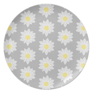 Water Lily Flowers. White, Yellow and Gray. Plate