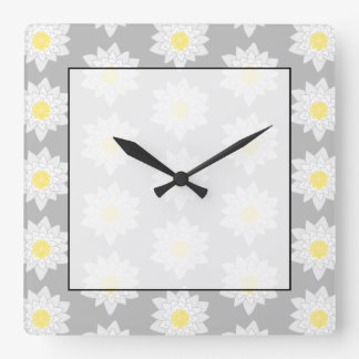 Water Lily Flowers. White, Yellow and Gray. Square Wall Clock