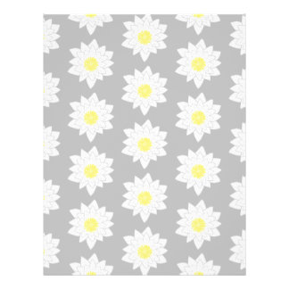 Water Lily Flowers. White, Yellow and Grey. Flyer