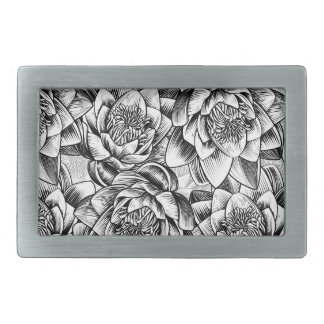 Water Lily Lotus Flower Background Rectangular Belt Buckles