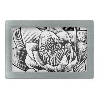 Water Lily Lotus Flower Vintage Woodcut Engraved E Belt Buckles