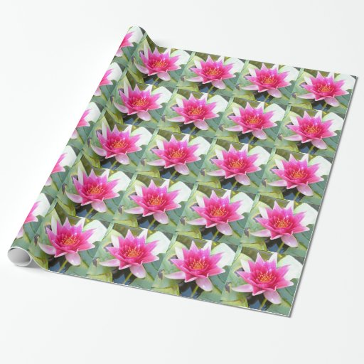 Water Lily Lotus Flower Gift Wrapping Paper