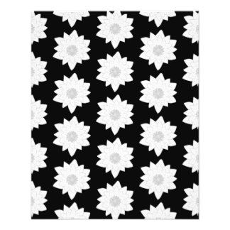 Water Lily Pattern. Black and White. 11.5 Cm X 14 Cm Flyer