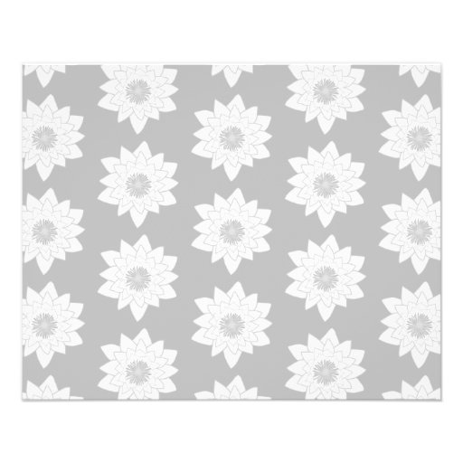 Water Lily Pattern in Light Gray. Flyer Design