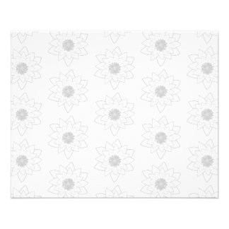 Water Lily Pattern in Light Grey and White. Full Color Flyer