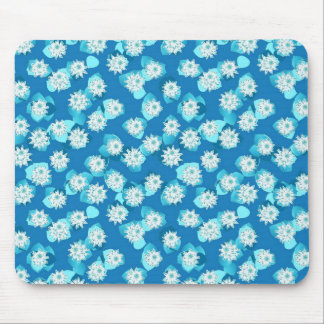 Water Lily pattern, turquoise, blue and white Mouse Pad