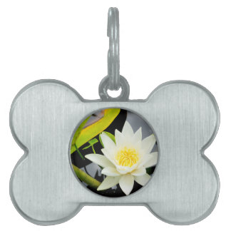 water lily pet ID tag