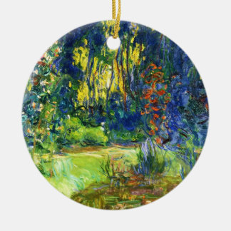 Water Lily Pond Claude Monet cool, old, master, ma Double-Sided Ceramic Round Christmas Ornament