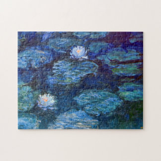 Water Lily Pond in Blue Claude Monet Fine Art Puzzle