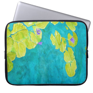 Water lily pond in watercolor laptop sleeves