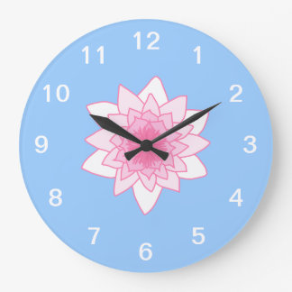 Water Lily. Pretty Pink and Pale Blue. Large Clock