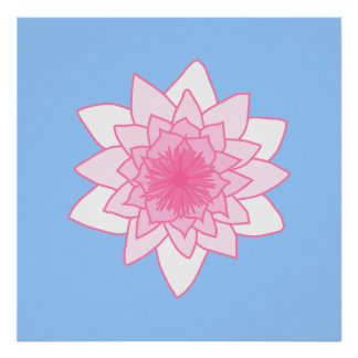 Water Lily. Pretty Pink and Pale Blue. Print