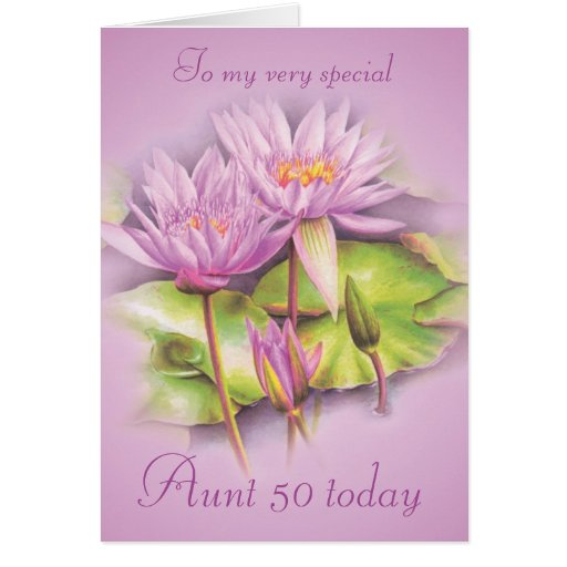 Water lily purple floral Aunt 50 birthday card