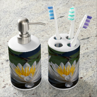 Water lily soap dispenser and toothbrush holder