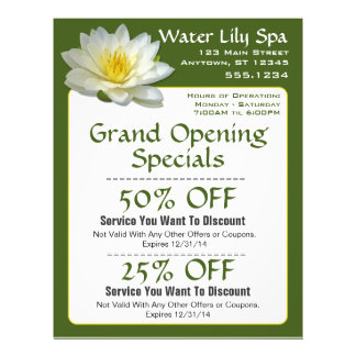 Water Lily Spa Coupon Flyer