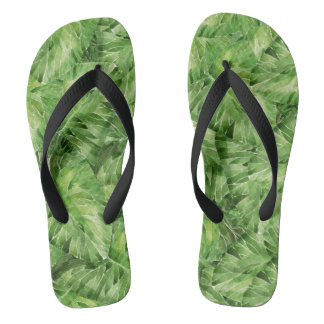 water-lily watercolor flip flops