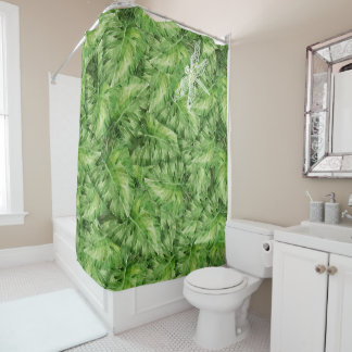 water-lily watercolor shower curtain