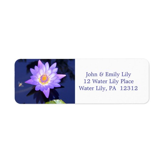 Water Lily with Bee Return Address Label