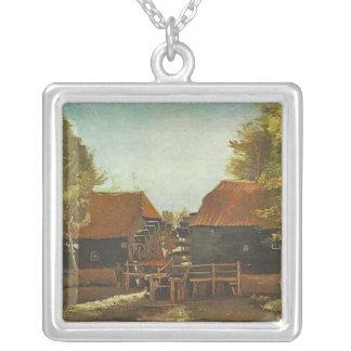 Water Mill at Kollen Near Nuenen 1884 Silver Plated Necklace