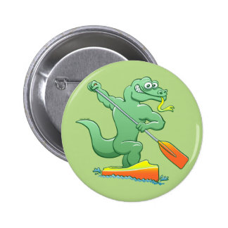 Water monitor competing in a canoe sprint event 6 cm round badge