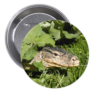 Water monitor lizard 7.5 cm round badge