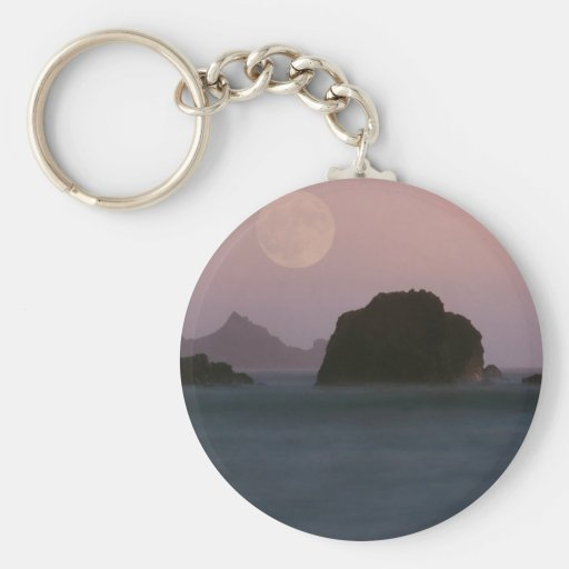 Water Moonset Rockaway Beach California Keychains