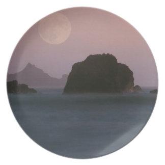 Water Moonset Rockaway Beach California Plates