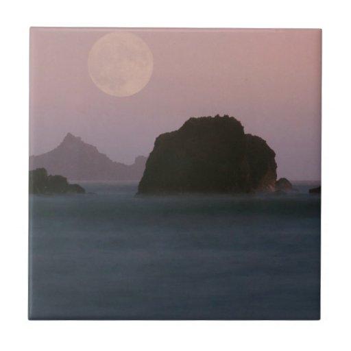 Water Moonset Rockaway Beach California Ceramic Tiles