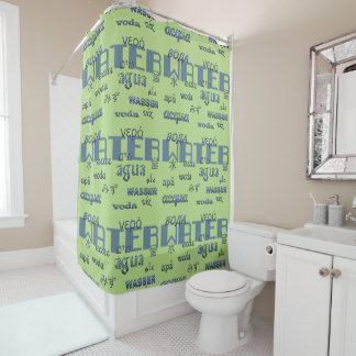 Water Multilingual Typography Blue on Lime Green Shower Curtain