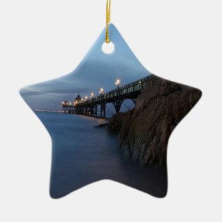 Water Nightime Pier Shot Christmas Tree Ornament