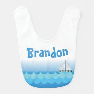 Water Ocean Sea Boat Sailing Baby Boy Name Bib