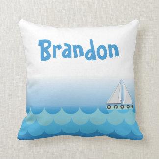 Water Ocean Sea Boat Sailing Baby Boy Name Cushion
