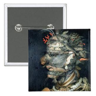 Water, (oil on canvas), Arcimboldo, Giuseppe 15 Cm Square Badge