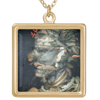 Water, (oil on canvas), Arcimboldo, Giuseppe Gold Plated Necklace