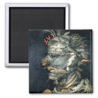 Water, (oil on canvas), Arcimboldo, Giuseppe Square Magnet