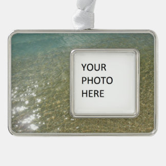 Water on the Beach I Abstract Nature Photography Silver Plated Framed Ornament