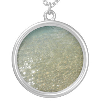 Water on the Beach I Abstract Nature Photography Silver Plated Necklace