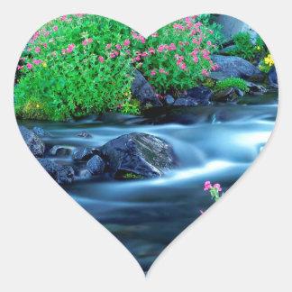 Water Paradise River Mount Rainier Heart Stickers