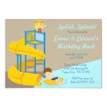 Water Park Birthday Kids Water Slide Pool Party 13 Cm X 18 Cm Invitation Card